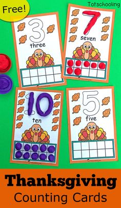FREE printable Turkey themed counting cards to go with playdough, perfect for a Thanksgiving activity in preschool! Get preschoolers to practice counting, ten frames and number recognition with this fun playdough activity! Thanksgiving Preschool, Fall Preschool, Kindergarten Activities, Preschool Activities, Toddler Preschool, Preschool Halloween, Turkey Kindergarten, November Preschool Themes, Thanksgiving Prayer