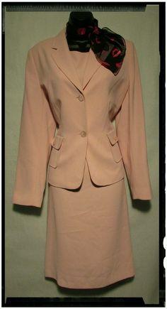 Sz 10 Lana Lee Pastel Pink Dress Suit with Scarf | eBay