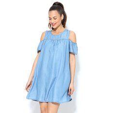 Robes femme - 3Suisses Cold Shoulder Dress, Denim, Dresses, Fashion, Vestidos, Outfits, Plunging Neckline, Dressmaking, Men