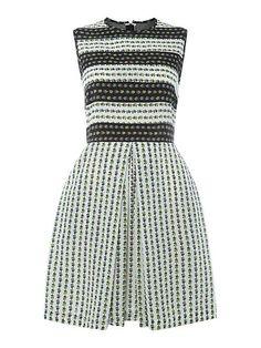 Soldino shift mesh back dress - love this striped floral print!