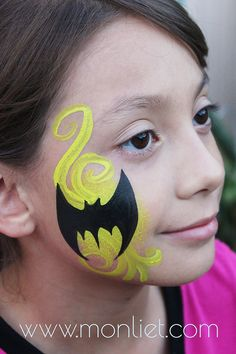 Batman Cheek | Monliet face paint | cheek art...use sponge and cut out batman shape for easy face art!