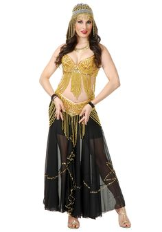 5986b40465630 This golden sexy belly dancer costume is a sexy Arabian costume for women!