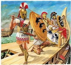 A group of epibatae (marines) come under fire at Salamis. Art by Marek Szyszko