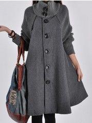 Single Breasted Fabulous Turtleneck Overcoats