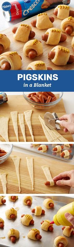 Pigskins in a Blanket : These mini football snacks are guaranteed to score major points at your football party, and with only three ingredients, they couldn't be easier to make! Game Day Snacks, Game Day Food, Party Snacks, Crescent Roll Recipes, Football Snacks, Good Food, Yummy Food, Appetisers, So Little Time