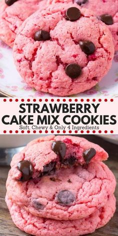 These strawberry cookies are soft, chewy, a little gooey and filled with chocola. These strawberry cookies are soft, chewy, a little gooey and filled with chocolate chips. Perfect for Valentine's Day - you'll love these strawberry cake mix cookies! Cake Mix Cookie Recipes, Easy Cheesecake Recipes, Chocolate Cookie Recipes, Chocolate Chips, Cake Chocolate, White Chocolate, Yummy Recipes, Smores Dessert, Dessert Blog