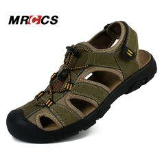 Promotion price MRCCS Men's Summer Cool Sandals Non Slip Genuine Leather  Soft Rubber Sole Beach Shoe