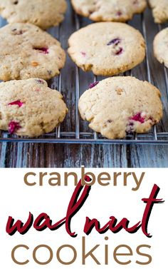 Fresh cranberries are the star flavor in these cranberry walnut cookies. The tartness of the cranberries combines with the butter and sugar in the cookies for a distinctive taste. Sweet and tangy with a little added crunch from walnuts make a delicious nutty seasonal cookie.