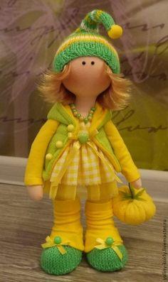 Коллекционные куклы ручной работы. Ярмарка Мастеров - ручная работа. Купить Текстильная куколка ручной работы Тыковка. Handmade.