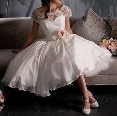 Den får det nog bli Lovely White Ivory Scoop Cap Sleeve Tea Length Lace Vintage Wedding Dresses Gown | eBay