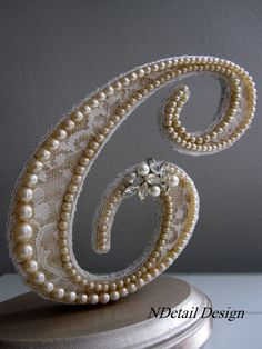 Pearl Cake Topper Monogram Letter C in Ivory Lace and Rhinestone Brooch for Rustic or Vintage Weddings on Etsy, $110.99
