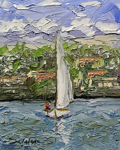 "Day Sailing 10"" x 8"" Palette Knife Oil"