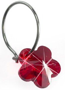 Nickel Free Swarovski Flower Dangle, Ruby Blomdahl. $35.00. Comfort Guaranteed!. Medical Grade Titanium Ear Wire. Nickel Free Earrings