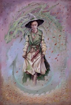 'Mary Fife' of Wildwood-coven wearing the colours of season Snow-Thaw. A witch feels the presence of the serpent twins in all aspects of life.