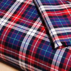 Red Blue White Cotton Plaid Twill Fabric by 1/4 Metre, Plaid Fabric, Twill Fabric, Reversible Yarn dyed Apparel Fabric, Hipster Fabric, Soft by EarthIndigoFabric on Etsy