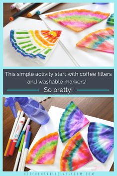 Coffee Filter Flowers & Other Easy Coffee Filter Crafts - The Kitchen Table Classroom - These colorful watercolor coffee filter flowers are easy enough for even the youngest artists. See how to make flowers plus more easy coffee filter crafts! Coffee Filter Art, Coffee Filter Crafts, Coffee Filter Flowers, Coffee Crafts, Coffee Filter Projects, Diy Crafts For Kids, Projects For Kids, Crafts To Sell, Fun Crafts