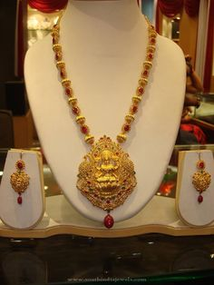Gold Coral Necklace Designs, Gold Coral Necklace Models, Indian Gold Coral Necklace and Earrings Set.