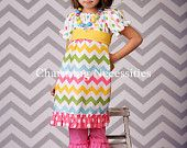 Girls Chevron Peasant Dress with Ruffles in Candy Coated Spring Easter