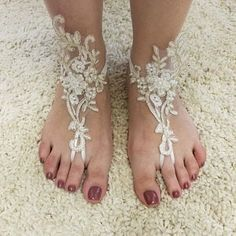 Items similar to ivory gold frame Beach wedding barefoot sandals Ivory Barefoot Sandals Sexy Yoga Anklet Bellydance Steampunk Beach Pool wedding accesories on Etsy Pool Wedding, Beach Wedding Sandals, Beach Wedding Favors, Wedding Shoes, Lace Bridal, Wedding Lace, Trendy Wedding, Strand Pool, Bridesmaid Accessories