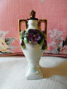 Antique French barbotine SNUFF BOTTLE amphora & VIOLETS