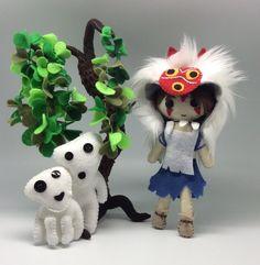 Princess Mononoke, Studio Ghibli, San Doll, Mononoke San, a Handmade felt doll, handmade kodama, felt kodama, anime movies, Forrest spirit,