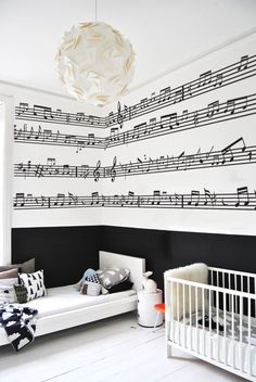 it, it is time to expand their love to the bedroom and provide it a matching mood decoration. Be inspired by these music themed bedroom decor ideas for kids! Music Bedroom, Dream Bedroom, Music Nursery, Music Inspired Bedroom, Home Music Rooms, White Bedroom, Modern Bedroom, Bedroom Themes, Bedroom Decor