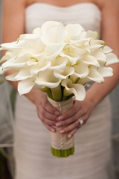 Cala Lily Bouquet, so pretty (Little plain though. Add some color and it would be much better)