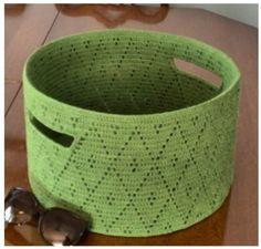 Tığ işi sepet крючком корзины canasta de ganchillo crochet panier Diy Crochet Basket, Crochet Bowl, Knit Basket, Crochet Organizer, Crochet Storage, Crochet Case, Craft Bags, Crochet Projects, Needlework