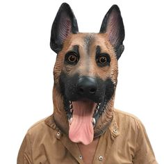 Dog Head Latex Mask Animal Masks Full Face Adult Masks Breathable Halloween Masquerade Fancy Dress Party Mask