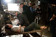 Behind the Scenes Photos of Actors Laughing Between Takes: THE DARK KNIGHT RISES (2012)