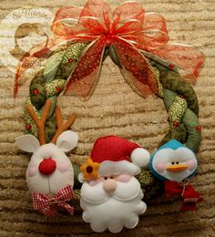 Felted ornaments used on a wreath