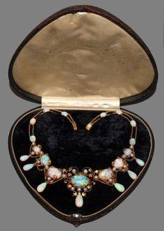 Art Nouveau opal, pearl, and diamond necklace.