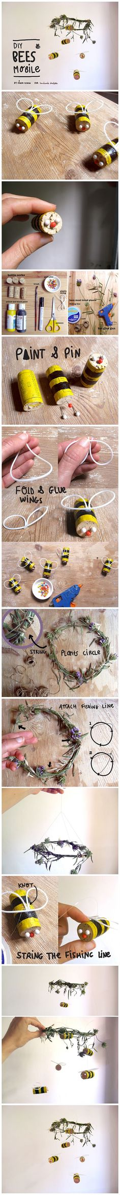 #Diy Cork #Bumblebee #Mobile #Tutorials Let's make an eco-conscious project to celebrate bees! This fun activity helps kids learn about the importance of bees, to love and protect them. The mobile is very cute and easy to make, and you'll enjoy watching the bees fly.