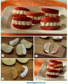 Love this healthy Halloween snack! Apples, peanut butter and marshmallows create cute sets of teeth! Just cut your apples into slices, spread on peanut butter and put marshmallows between the two slices! Comida De Halloween Ideas, Halloween Fingerfood, Postres Halloween, Dessert Halloween, Fete Halloween, Halloween Food For Party, Halloween Birthday, Holidays Halloween, Halloween Kids