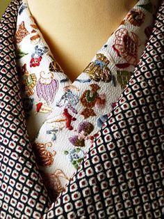 Embroidered han-eli - decorative collar on under-kimono Japanese Textiles, Japanese Fabric, Japanese Kimono, Japanese Embroidery, Hand Embroidery, Embroidery Designs, Embroidery Needles, Machine Embroidery, Embroidery Books