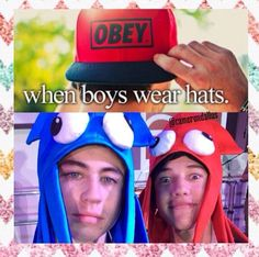 Don't you just love when boys wear hats (MagCon Boys-Nash Grier and Cameron Dallas)