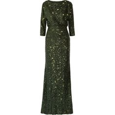 Badgley Mischka Sequined mesh gown (24.490 RUB) ❤ liked on Polyvore featuring dresses, gowns, green, badgley mischka dresses, sequin ball gown, sequin gown, sequin dress and mesh dress