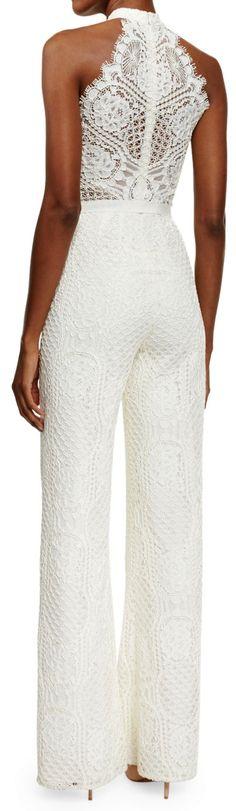 Alexis Maylina Sleeveless Grecian Lace Jumpsuit, Ivory