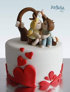 Find sweet Valentine's Day ideas of all kinds.Try these randomly romantic Valentine's Day ideas when you're down to the wire . Send your sweetie a sweet, Fondant Cake Designs, Fondant Cakes, Cupcake Cakes, Pretty Cakes, Beautiful Cakes, Amazing Cakes, Fancy Cakes, Mini Cakes, Love Cake