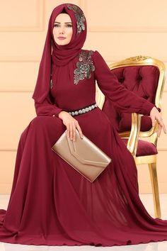 Şal Kombinli Şifon Abiye ECH7046 Bordo Latest Fashion Dresses, Hijab Fashion, Hijabi Gowns, Bordeaux, Hijab Dress Party, Kurti Sleeves Design, Abaya Designs, Beautiful Hijab, Designer Gowns