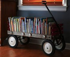 ♥ this idea!!!!! Have the kids wagon to do it too!!! Need to take our children's books from trunk in attack and make this. EEk!