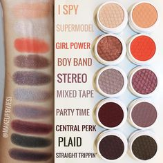 Colourpop Fall 2015 collection swatches - already bought Central Perk and Party Time and they are gorgeous! I need Boy Band! Makeup To Buy, Kiss Makeup, Beauty Makeup, Eye Makeup, Hair Makeup, Beauty Tips, Beauty Box, Beauty Stuff, Beauty Ideas