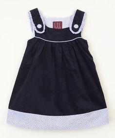 Love this Navy Blue Seersucker Dress - Infant, Toddler & Girls on #zulily! #zulilyfinds