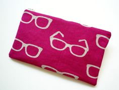 Mod Glasses Spectacles Zippered Pouch  Magenta by leeandlatimer, $15.00