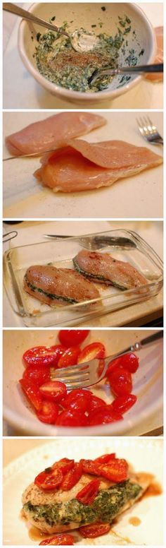 Spinach Stuffed Chicken with Blistered Tomatoes - Love with recipe