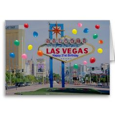 Las Vegas Happy 21st Birthday Card In Blue Cards
