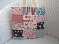 Patchwork Tote Bag - Dusky Pink, Duck Egg Blue, Chocolate and Cream £13.50