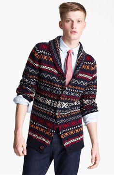 Topman Fair Isle Shawl Collar Cardigan available at  Nordstrom Shawl Collar  Cardigan, Sweater Cardigan a0abd71263
