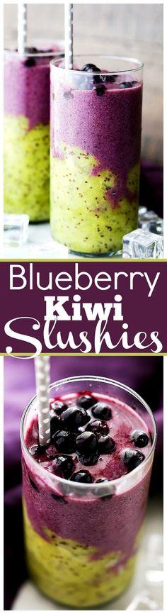 Blueberry Kiwi Slushies - Cooling and refreshing, these healthy Blueberry Kiwi…