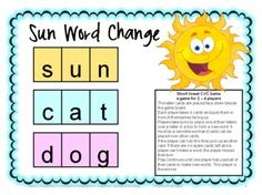 Freebie - The Short Vowel CVC Word Change Board Game by Games 4 Learning is a printable board game to practice reading, identifying and creating short vowel CVC words.